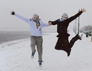 The rubberbandits in the snow in Sandymount Dublin. Picture credit; Damien Eagers