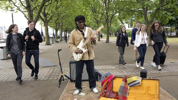 Nile Rodgers performing on London's South Bank to celebrate the new Sky Arts programme Guitar Star