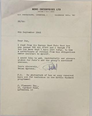 Brian Epstein's letter about Pete Best (Omega Auctions/PA)