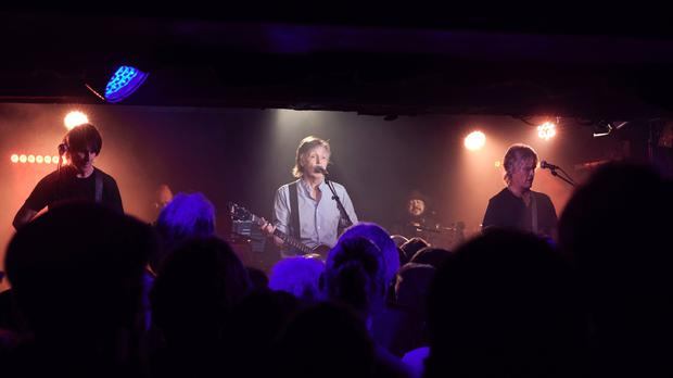 Sir Paul McCartney performing a free gig at the Cavern Club in Liverpool (Sonny McCartney/MPL)