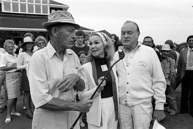 Comic actors Bing Crosby (L) and Bob Hope were among the competitors during the Pro-Am golf tournament on the eve of the 30,000 Colgate European Women's Open at Sunningdale (PA)