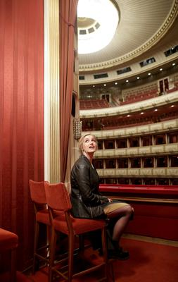 Molly Sterling checks out the view from a box at the Vienna State Opera