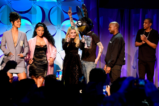 Rihanna, Nicki Minaj, Madonna, Deadmau5 and Kanye West at the launch in New York yesterday of the new high-fidelity music-streaming service Tidal
