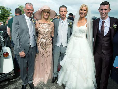 Singer Dervla Burke of Crystal Swing with Tim, brother Derek (left) her mother Mary and father Michael