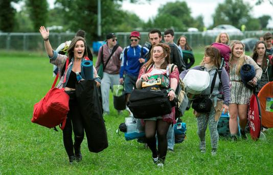 Festival goers arriving at the Electric Picnic in Stradbally