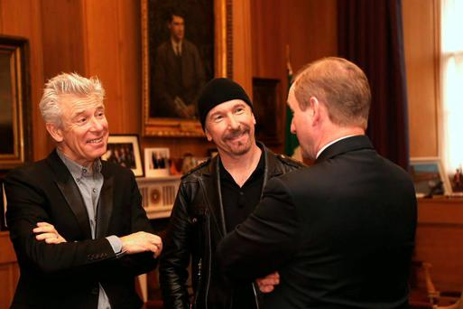 Adam Clayton and The Edge of U2 meeting Taosieach Enda Kenny at Government buildings