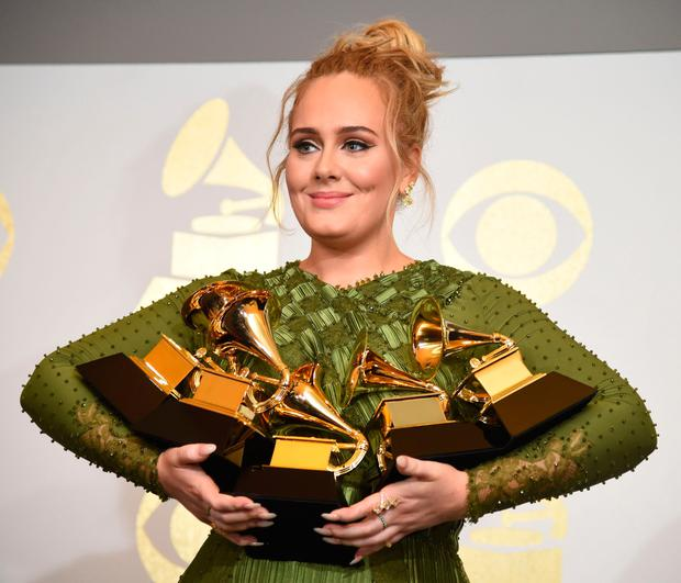 Adele swept the board at the Grammys with five wins