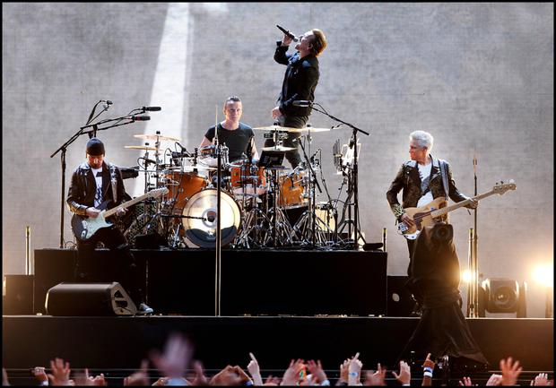 U2 on stage at Croke Park . Pic Steve Humphreys