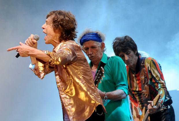 Keith Richards with Mick Jagger and Ronnie Wood