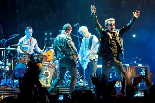 U2 performing during their Innocence + Experience tour at the O2 arena in London