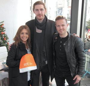 Hozier with Nicky Byrne and Jenny Greene at The Rte 2fm Radiothon