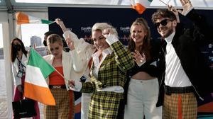 Ireland's Lesley Roy (centre) arrives for the Eurovision semi-final in Rotterdam. Photo: Peter Dejong/AP