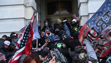 Donald Trump supporters clash with police and security forces as they storm the US Capitol in Washington, DC, on January 6. Picture by Brendan Smialowski
