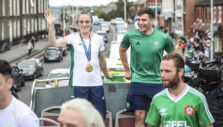 Olympic heroes Kellie Harrington with Emmet Brennan celebrate their homecoming from Tokyo. Picture by Conor McCabe Photography