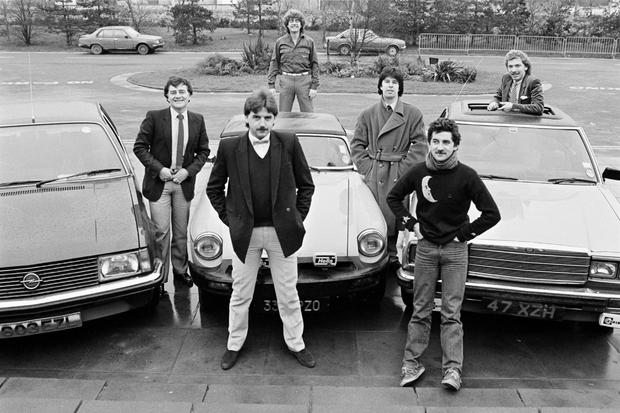 Left to right: Larry Gogan, Marty Whelan, Jimmy Greeley, Gerry Ryan, Lorcan Murray and Jim O'Neill c 1982. Photo: RTÉ Stills Library
