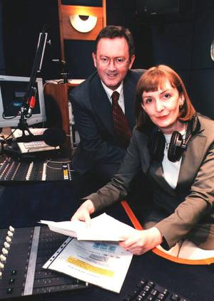 Rachael, with Sean O'Rourke, in 2003, when she was presenting 'Five Seven Live'