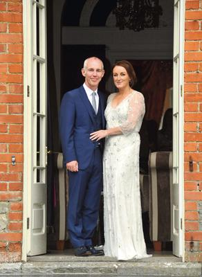 Ray D'Arcy and Jenny Kelly on their wedding day at Tankardstown House.