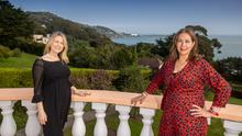 Irish estate agents Michelle Kealy and Robyn Espey  on the grounds of Summerhill, Marino Avenue West, Killiney which is on the market with Lisney for €8.9m. PHOTO: MARK CONDREN