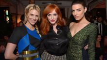 """January Jones, and from left, Christina Hendricks and Jessica Pare attend the LA premiere of """"Mad Men"""" season 7 after party"""