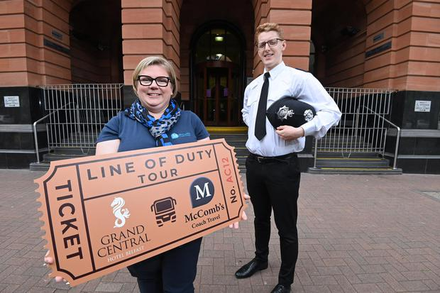 Caroline McComb from McCombs Coach Travel is joined by Cáelán McVeigh from the Grand Central Hotel to launch the new Line of Duty Experience PIC Stephen Hamiltonn / Press Eye