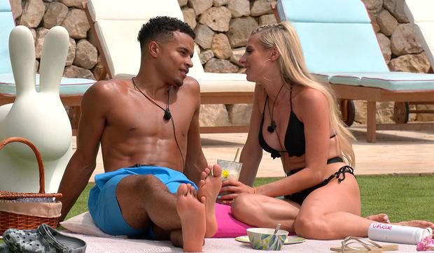 Toby and Chloe have a breakfast picnic in Love Island. Photo: ITV