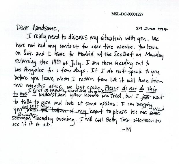 A letter from Lewinsky to Bill Clinton. Photo: Getty Images