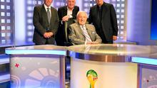 Bill O'Herlihy with John Giles, Eamon Dunphy and Liam Brady ahead of the FIFA 2014 World Cup Final