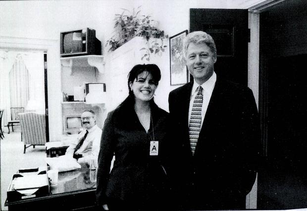 Monica Lewinsky with Bill Clinton at a White House function. Photo: Getty Images