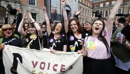 'Repeal' supporters in the lead-up to the 2018 referendum on the Eighth Amendment. Photograph: Damien Eagers/INM