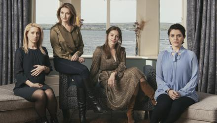The cast of RTE drama Smother, from left: Niamh Walsh as Jenny, Dervla Kirwan as Val Ahern, Seána Kerslake as Grace and Gemma Leah Devereux as Anna