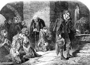 A group of worshippers praying in a chapel in the town of Thurles, North Tipperary, Ireland, during the Great Famine, 1848. Original publication: Illustrated London News - pub 26th August 1848. Photo by Illustrated London News/Hulton Archive/Getty Images.