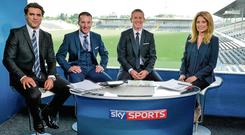 From left: Sky Sports presenter Brian Carney with hurling analysts Jamesie O'Connor and Ollie Canning, and GAA anchor Rachel Wyse in their studio before the Kilkenny v Offaly game at Nowlan Park, Kilkenny. Photo: Brendan Moran / SPORTSFILE