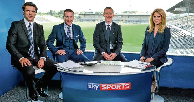 From left: Sky Sports presenter Brian Carney with hurling analysts Jamesie O'Connor and Ollie Canning, and GAA anchor Rachel Wyse in their studio before the Kilkenny v Offaly game at Nowlan Park