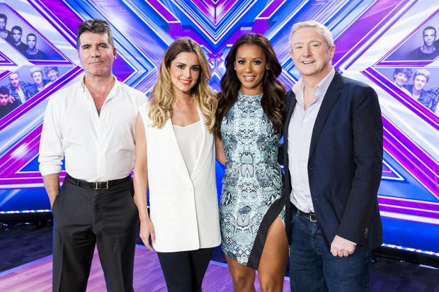 The judges for X Factor 2014: Simon Cowell, Cheryl , Mel B and Louis Walsh.