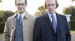 Tom Vaughan Lawlor and Aiden Gillen as PJ Mara and Charlie Haughey in RTE's Charlie