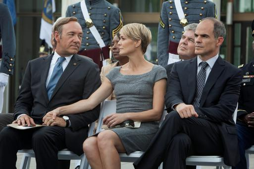 Claire with husband Frank — now President of the United States — played by Kevin Spacey