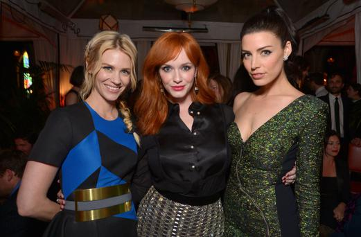 January Jones, and from left, Christina Hendricks and Jessica Pare attend the LA premiere of