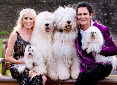 Family affair: Kildare couple Jennifer Duggan and Martin Bailey, with their dogs, were some of the stars of RTE show 'Pet Island'.