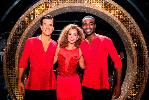 Danny Mac, Louise Redknapp and Ore Oduba during the live final of the BBC1 show, Strictly Come Dancing. Photo: Guy Levy/BBC/PA Wire