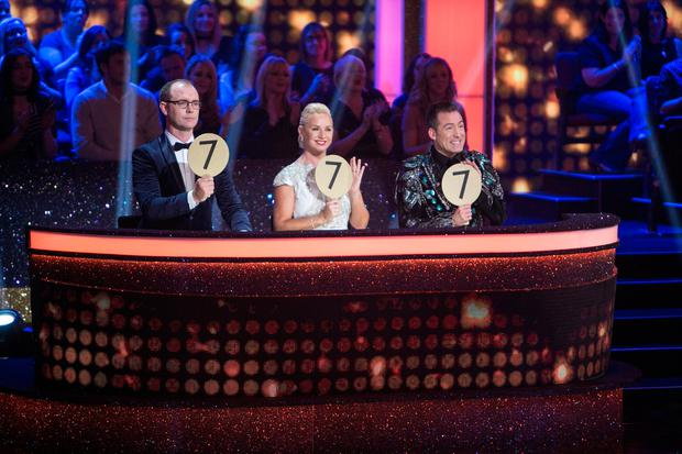 Judges Brian Redmond Lorraine Barry and Julian Benson during the Second live show of RTE's Dancing with the Stars. Photo: Kyran O'Brien