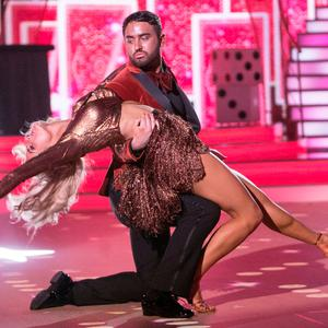 Hughie Maughan and Emily Barker performing during the Live performance of RTE's Dancing with the Stars. Photo: Kyran O'Brien