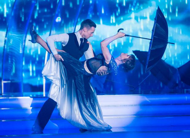 Teresa Mannion dancing with John Edward Nolan during the Second live show of RTE's Dancing with the Stars. Photo: Kyran O'Brien