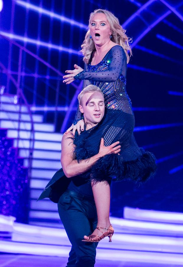 Dr.Eva Orsmond dancing with Sean Smullen during the Second live show of RTE's Dancing with the Stars. Photo: Kyran O'Brien