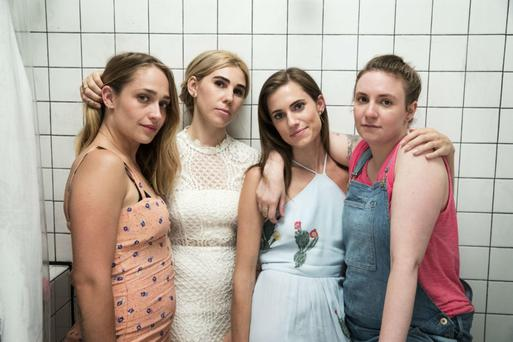 Closing act: Jemima Kirke as Jessa, Zosia Mamet as Shoshanna, Allison Williams as Marnie, and Lena Dunham as Hannah