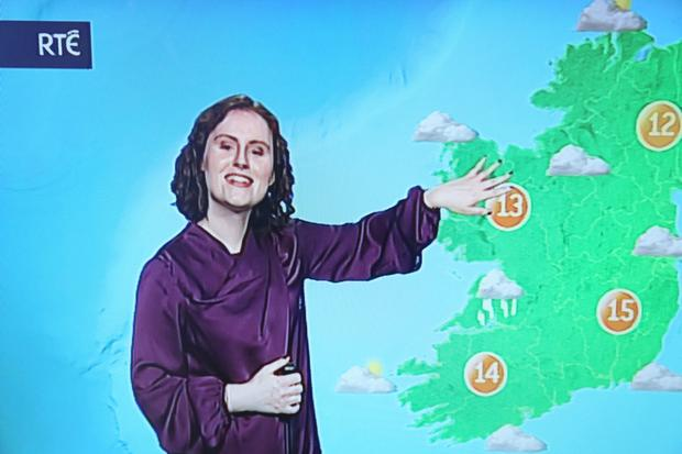 Meadhbh McGrath presenting a weather bulletin. Photo: Mark McConville