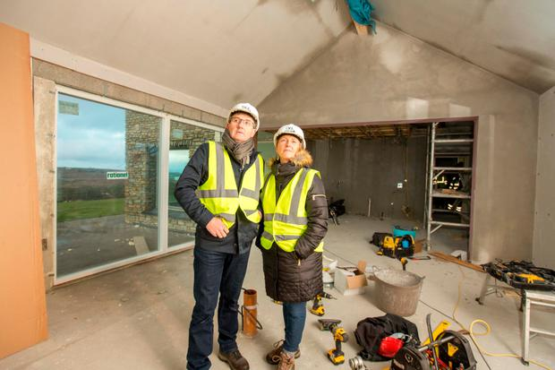 Daniel and Majella O'Donnell on site during work at their home. Photo: James Connolly