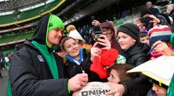 Jonathan Sexton meets supporters at an Ireland rugby open training session at the Aviva Stadium. Photo: Ramsey Cardy/Sportsfile