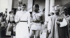 Fr Joe McHugh,General Ojukwu head of State Biafra and Archbishop Arinze, Onitsha before Biafra war