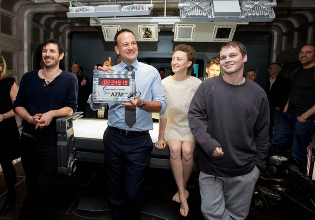 An Taoiseach, Leo Varadker TD is pictured at Troy Studios Limerick on the set of SYFYÕs Nightflyers with cast members Eoin Macken, Maya Eshet and Sam Strike. Photo: Alan Place/SYFY