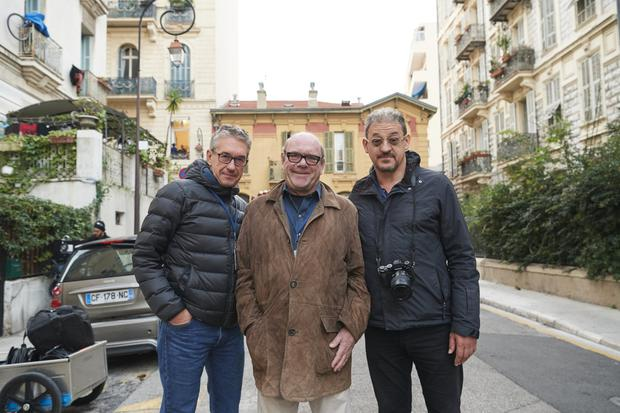 Behind the scenes: Paul McGuinness, centre, with directors Richard Moat (left) and Foz Allan